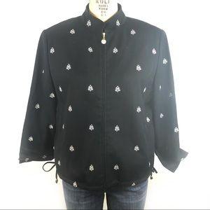 St. John Sport casual jacket bee motif large black